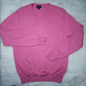 Faconnable Salmon Silk V-Neck Sweater Size L